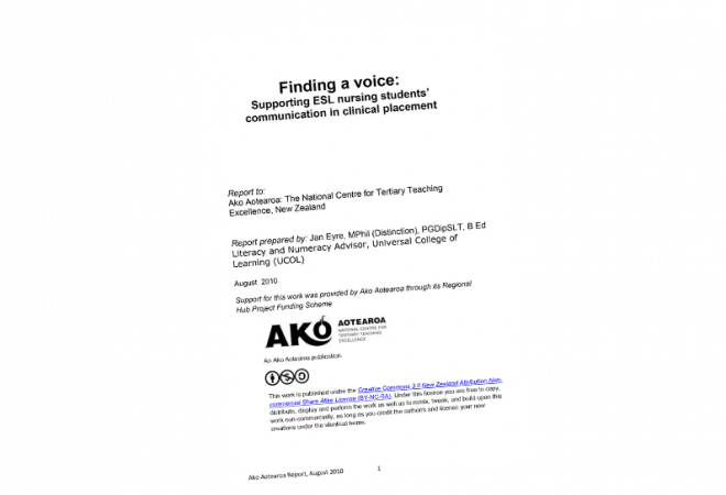 Finding a Voice: Supporting ESL Nursing Students