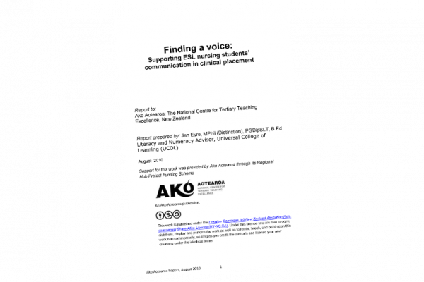RESEARCH REPORT Finding a Voice Supporting ESL Nursing Students Communication in Clinical Placement